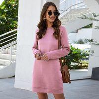Women's Leosoxs Autumn Winter O Sleeve Neck Long Sweatshirt Dress 2021 New Fashion Solid Loose Pocket Ladies Mini Dress Vestidos