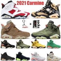 Nike Air Jordan Retro 6 Travis Scott Jumpman 6 6s Erkek Kadın Basketbol Ayakkabıları 2021 Carmine Cactus Jack Quai 54 Duman Gri Siyah Kızılötesi Eğitmenler Spor ayakkabılar 36-47