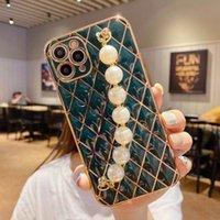 Caso de telefone de pulseira de pérola polida eletrodométrica para iphone 12 mini 11 pro máx 7 8 plus se 2020 x xs max xr capa bonita