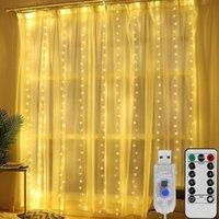 LED سلسلة أضواء عيد الميلاد الديكور التحكم عن usb الزفاف جارلاند الستار 3 متر * 3 متر مصباح عطلة عطلة لغرفة النوم لمبة في 300LED