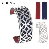 Cremo Rhombus Bangles Stainless Steel Bracelet Argent Bijoux Femme Arm Hand Cuffs Geometry Bangle 25mm Reversible Leather Stripe