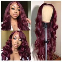99J Burgundy 13x4 Lace Front Human Hair Wigs Brazilian Remy Pre Plucked Wig For Black Women Body Wave SOKU1