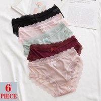 Women's Panties Sexy Women Lace Underwear Low-waist Briefs Transparent Bow Soft Lingerie Underpants G-String Solid Color Panty