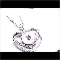 Pendant Necklaces & Pendants Jewelry Drop Delivery 2021 Papa 60Cm Chain Retro Heart 18Mm Snap Button Snaps Necklace &Pendants Ginger Lz772 Ix