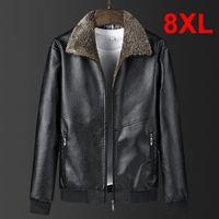 8XL Plus Size Mens PU Jacket Warm Thick Coats Winter Autumn Fur Collar Leather Jacket Male Fashion Casual Big Size 7XL 8XL HX513