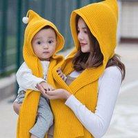 Mom Mother Baby Knit Scarves Autumn Winter Solid Cotton Fashion Pom Bobble Hat Kids Girls Boys Warm Beanie Cap