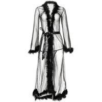 여성용 잠옷 양모 긴 Nightdress 여성 슬리브 전망 그물 드레스 단단한 섹시한 잠옷 가운 목욕 가운 속옷 슬림 란제리