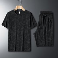 Men's Tracksuits European Short-sleeved T-shirt Suit Summer Ice Silk Loose Casual Sports Camouflage Clothing Two-piece
