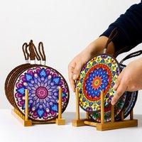 Marokkanische keramische Kork-Matte Doppelschicht-Keramik- und Porzellan-Untersetzer-Kaffeetasse Platz-Matten mit Korken-Base GWA4485