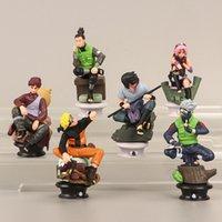 Naruto de la décoration de voiture jouets 6 pcs Sasuke Kakashi ITACH Personnages Ensemble Anime Action Figurines Poupée PVC Modèle Ornements Version des échecs