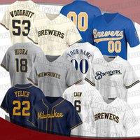 Brewers 22 Christian Yelich Jersey Milwaukee 6 Lorenzo Caim 2 Luis Urias Jerseys 53 Brandon Woodruff Kolten Wong Omar Narvaez Willy Idade