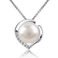 7mm parel hanger natuurlijke zoetwater sterling zilveren sleutelbeen ketting hart sieraden voor vrouwen jubileum geschenk