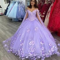 2021 Luxury Lilac Lavender Quinceanera Ball Gown Dresses Off Shoulder Lace Appliques 3D Floral Flowers Beads Long Sleeves Sweep Train Plus Size Prom Evening Gowns