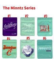 Minntz 3.5g Mylar Bags Big Apple Jealousy The Soap Emergen C Emerald Cut Hologram Strain sticker included