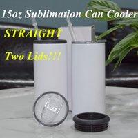Duas pálas 15oz Sublimation pode refrigerador de aço inoxidável de copo de aço inoxidável lata isolada isolada de vácuo