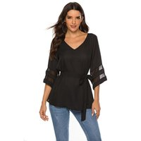 Women's Blouses & Shirts Sexy Tops Long Sleeve V Neck Trumpet Office Chiffon Blouse Casual High Quality Comfortable