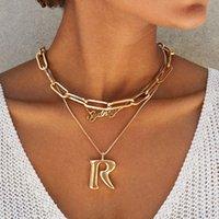 Böhmische Büroklammerkette Frauen Halskette Rechteck Link Hera Choker Halsband Edelstahl Gold / Silber Farbe1 604 Q2