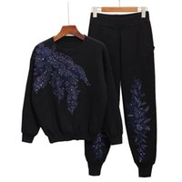 Women's Tracksuits 2021 Autumn Womens Tracksuit Set Beading Embroidery Long Sleeve Knitted Sweaters + Casual Small Feet Pants Women Two Piec