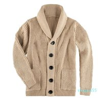 Men's Trench Coats 2021 European American Fall Winter Sweaters Fit-type High-Neck Single-Breasted Pocket Tops Knit Sweater Cardigan Jacket