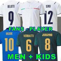 Jogador Versão 2020 2021 Itália Soccer Jersey Home Sensi Belotti Jorginho El Shaarawy Insigne Verratti Bernardeschi Pellegrrini Kean Men + Kids 20 21 Camisas de Futebol