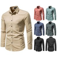 Men's Casual Shirts 2021 Spring Autumn European Code High Quality Solid Color Single Breasted Slim Business Long Sleeve Shirt