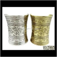 Тибетский стиль племенных ретро резьба цветок широкий старинный серебряный бронзовый металлический ювелирный подарок Esnvh 2GIF4