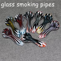 Tobacco Hand Glass Pipes Pyrex Spoon Oil Burners Smoking Pipe Bongs Heady 4.0inches Quartz Nails