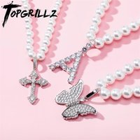 TOPGRILLZ 6mm8mm Vintage Fashion White Pearl Necklace with Iced Cubic Zirconia Cross Butterfly Pendant Charm Jewelry For Women