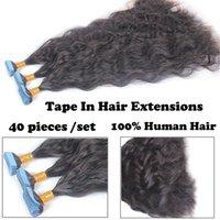 Натуральная волна человеческих волос ленты в волосах наращивания волос бразильские реми Скит кожи для женщин
