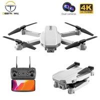 KK5 RC Mini Drone 4K HD Drone Câmera de Angular Grande 1080P WiFi FPV Drone Dobrável Quadcopter Headless Mode Siga-me Helicóptero Brinquedos 210325