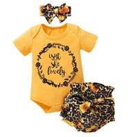 Focusnorm 0-18M 3pcs Infant Baby Girls Clothes Sets Sunflowers Print Jumpsuit Short Sleeve Romper Tops+Leopard Shorts+Headband Clothing