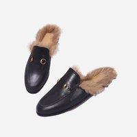 GÜZ / Kış Yeni Sezon Erkek Ve Kadın Terlik Siyah Tüylü Deri Loafer'lar Katır Tasarımcı Ayakkabı