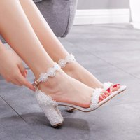 Dress Shoes Crystal female fashion queen seven thick heels high white sandals pearl wedding shoes of the bride YV7R