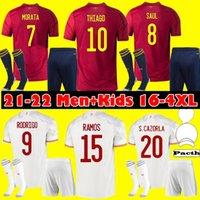 حجم S-4XL 2021 اسبانيا لكرة القدم جيرسي رودريغو مورا ثيايسو إيسيستا الرئيسية camiseta دي فطبل سيرجيو راموس ايسكو ألبا لكرة القدم قميص الرجال الاطفال كيت موحدة