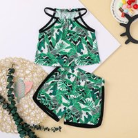 Clothing Sets Fashion Toddler Infant Kids Baby Girls Summer Sleevless Floral Printed Camisole Tops + Shorts Party Beach 2-piece Outfits Set#