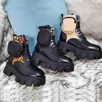 Bottes de combat en cuir mat en cuir noir Femmes Fashion Paltform rond Toile Ankle Martins Bottes amovibles Pouch-Chaussures d'hiver