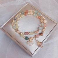 Círculo duplo cor nova pulseira de cristal de cabelo na primavera
