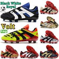 Moda Homens Predator Acelerador Eletricidade FG Mens Soccer Sapatos Preto Bege Branco Vermelho Royal Obsidian Gold Volt Sneakers