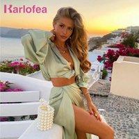 Arbeitskleider Karlofea 2 Stück Set Frauen Sommer Strand Urlaub Outfits Sexy croppte Bluse Hemden Hohe Split Lange Rock Passende Anzug Kleidung