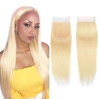 말레이시아 613 레이스 클로저 스트레이트 머리 무료 부품 금발 표백 된 매듭 4x4 브라질 버진 인간 레미 프리 뽑아 브라자 리안