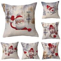 Printed Cartoon Santa Claus Christmas Decorative Pillow cover cotton linen decoration gift cushion covers suitable for car sofa pillowcase 45cm*45cm