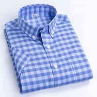 Macrosea мужские повседневные рубашки досуг дизайн плед высококачественные мужские социальные рубашки 100% хлопок с коротким рукавом мужские рубашки BLN 210615