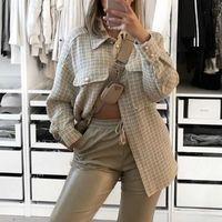 Women's Wool & Blends Women Tweed Pearl Button Fashion Pliad Shirt Jacket Ladies Girls Thick Turn Down Neck Checkd Shackets Coat Outwears St