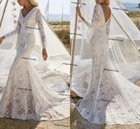 Hippie bohemian crochet Lace Wedding Dresses V-Neck Long Bell Sleeves 2021 boho beach Backless mermaid Cut Out Lace Bridal Gown
