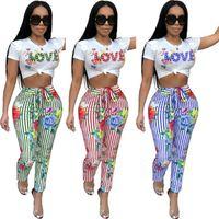 Pants Suit Set Women 2pcs Letters Printed Short Sleeve Round Collar Fit Tank Tops T-Shirt Printed Lace-up Pencil Fashion Women Tracksuit