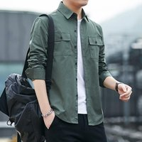 Men's Casual Shirts Clothing Thin 2021 Korean Military Army Fashion Long Sleeve Solid Cotton Color