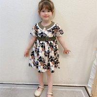 여름 새 여자의 프린트 옷깃 드레스 어린이 영리한 접합 공주 스커트 패션