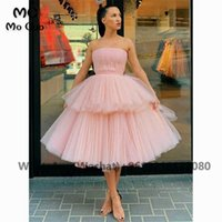 Ball 2021 Strapless Homecoming Dresses with Pleat Tiered Evening Dress Tulle Graduation Cocktail Party Dress H0916