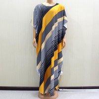 캐주얼 겨울 아프리카 느슨한 다채로운 도트 스트라이프 프린트 여성 배틀 윙 슬리브 O 목 맥시 드레스