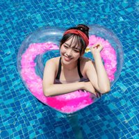 Yards Inflatable Swimming Ring Romantic Heart Shape Builtin ...